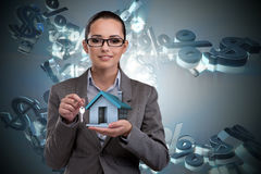 The businesswoman in real estate mortgage concept Royalty Free Stock Photos