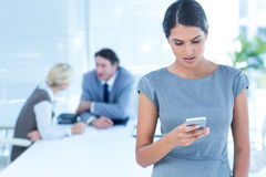 Businesswoman receiving bad news on her phone Royalty Free Stock Photos