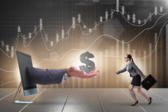 The businesswoman receiving investment in her startup business Royalty Free Stock Photo