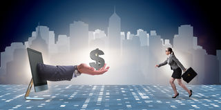 The businesswoman receiving investment in her startup business Stock Image