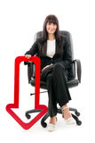 Businesswoman with red arrow Royalty Free Stock Images