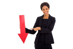 Businesswoman red arrow Stock Image