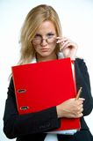Businesswoman with red binder Royalty Free Stock Photography