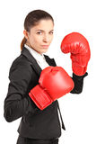 Businesswoman with red boxing gloves Royalty Free Stock Photos