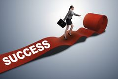 The businesswoman on the red carpet in success concept. Businesswoman on the red carpet in success concept Royalty Free Stock Images