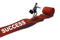The businesswoman on the red carpet in success concept. Businesswoman on the red carpet in success concept Stock Photo