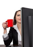 Businesswoman with a red cup of coffee Stock Image