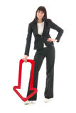 Businesswoman with red dart Stock Image