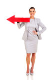 Businesswoman red direction arrow Royalty Free Stock Images