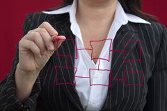 Businesswoman With Red Drawing Chart Royalty Free Stock Photos