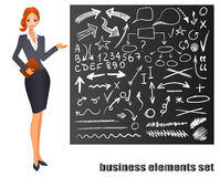 Businesswoman. Red hair. Chalkboard with hand drawn business sketches. VECTOR eps 8 illustration stock illustration