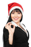 Businesswoman in red hat showing the ok sign Royalty Free Stock Photo