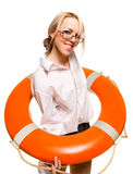Businesswoman with red life buoy stock photography