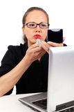 Businesswoman with red lipstick and mirror Royalty Free Stock Photo