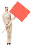 Businesswoman with red signboard Royalty Free Stock Photography