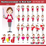Businesswoman in red suit2 Stock Photos
