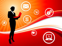Businesswoman on Red Wave Background with Internet Icons Royalty Free Stock Images