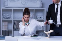 Businesswoman refusing coffee cup Royalty Free Stock Image