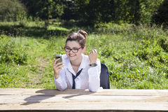 Businesswoman rejoicing news on the web Stock Photo