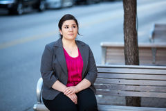 Businesswoman - Relaxing on a bench Stock Photos
