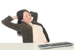 Businesswoman Relaxing at Desk stock image
