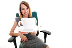 Businesswoman, relaxing in office coffee time. Happy excited young businesswoman, relaxing in office chair, relax coffee time isolated on white Stock Photos