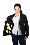 Businesswoman with reminder notes Stock Images