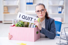 The businesswoman resigning from her job Stock Image