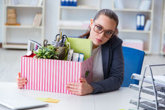 The businesswoman resigning from her job Stock Photos