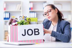 The businesswoman resigning from her job Royalty Free Stock Image
