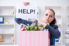 The businesswoman resigning from her job Royalty Free Stock Photography