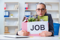 The businesswoman resigning from her job Royalty Free Stock Photos