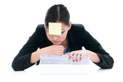 Businesswoman Resting On Folder Royalty Free Stock Photography