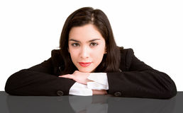 Businesswoman Resting on her Desk Stock Image