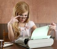 Businesswoman retro secretary office vintage. Glasses typewriter accountant Stock Photo