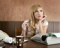 Businesswoman retro secretary office vintage Royalty Free Stock Image