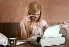 Businesswoman retro secretary office vintage. Glasses typewriter accountant Royalty Free Stock Images