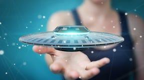 Businesswoman with retro UFO spaceship 3D rendering Stock Photos