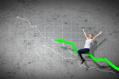 Businesswoman ride graph Royalty Free Stock Photos