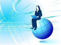 Businesswoman Riding the Internet Stock Photos