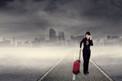 Businesswoman on the road Royalty Free Stock Image