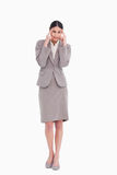 Businesswoman rubbing her temples Royalty Free Stock Photo