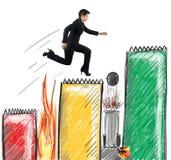 Businesswoman run above statistics Stock Photo