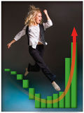 Businesswoman runing up a stairway and growing sales chart. On black background Stock Photography