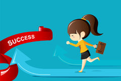 Businesswoman running on arrow to success.Business competition concept. Vector Illustration Stock Image