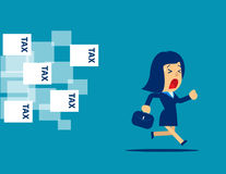 Businesswoman running away from tax. Concept business illustrati. On. Vector flat Royalty Free Stock Image
