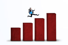 Businesswoman running on business chart isolated 1 Royalty Free Stock Image
