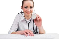 Businesswoman running computer diagnostics Stock Photography