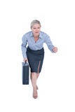 Businesswoman running and holding briefcase Stock Images