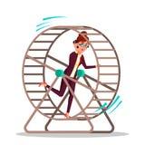 Businesswoman Running Inside A Rat Wheel Vector Flat Cartoon Illustration stock illustration
